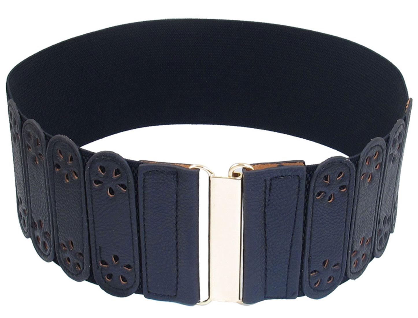 Ladies Hollow Flower Decor Interlocking Closure Stretchy Band Waist Belt Dark Blue