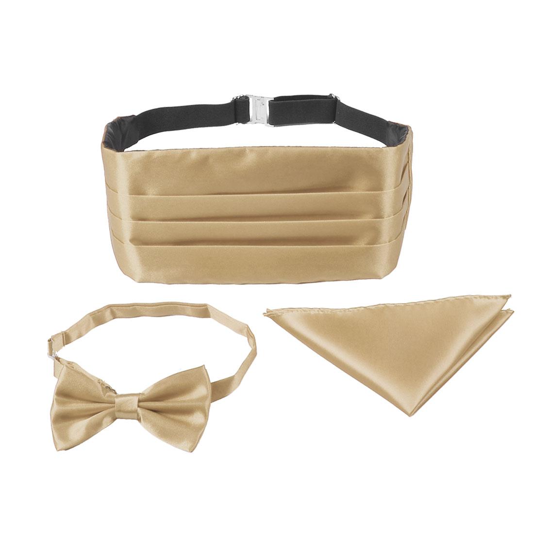 Men Beige Polyester Satin Tuxedo Party Cummerbund Bow Tie Pocket Square Set