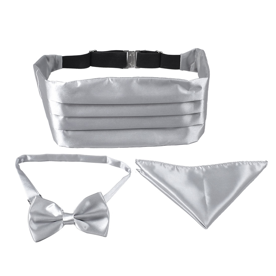 Man Light Gray Pre-tied Bow Tie Cummerbund Hanky Set Wedding Halloween Costume