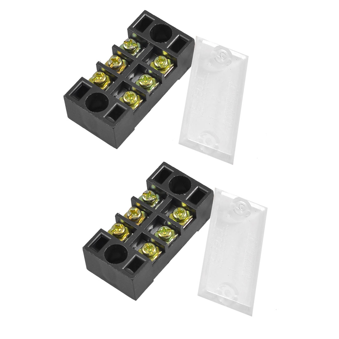 2 Pcs Dual Rows 3 Positions 3P Terminal Blocks Barrier 600V 15A