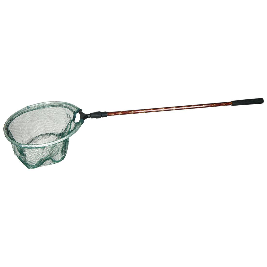 Black Plastic Coated Telescopic 2 Sections Handle Green Meah Fishing Landing Net