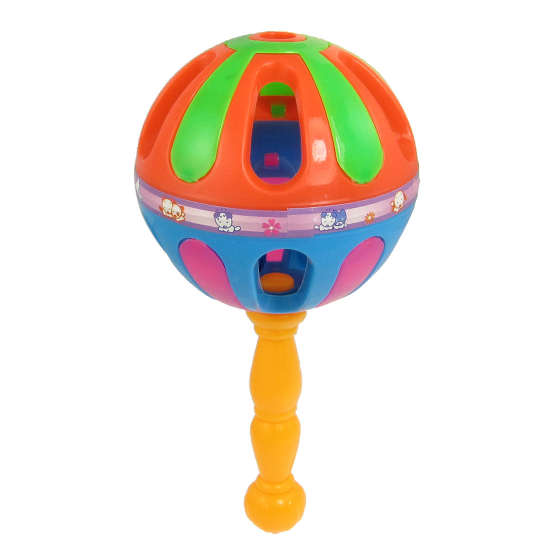 Plastic Cage Ball Jingle Bell Handbell Baby Toy Rattle Shaker Orange