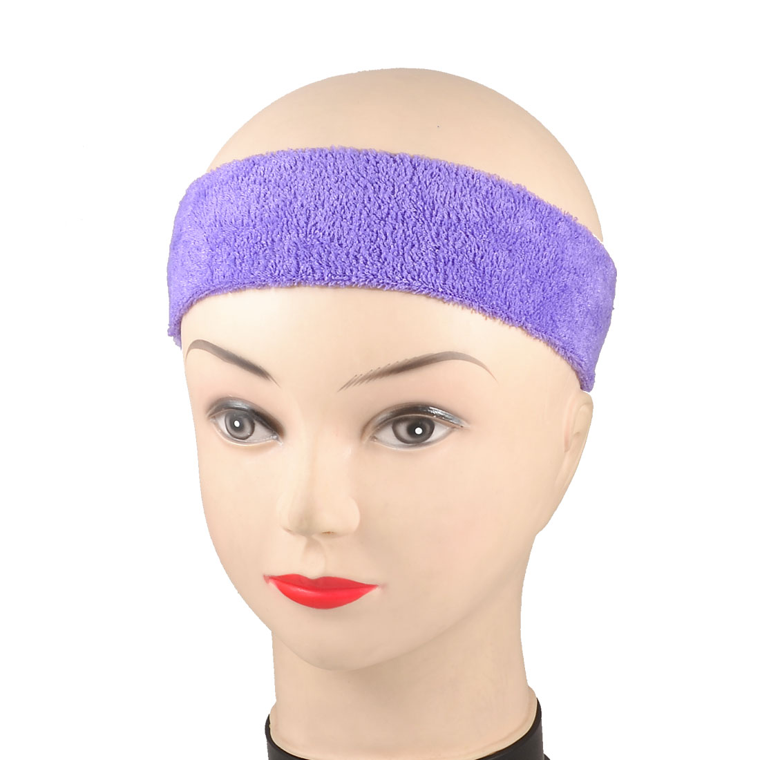 Purple Spa Bathing Terry Elastic Headband Hair Tie Band 2 Pcs
