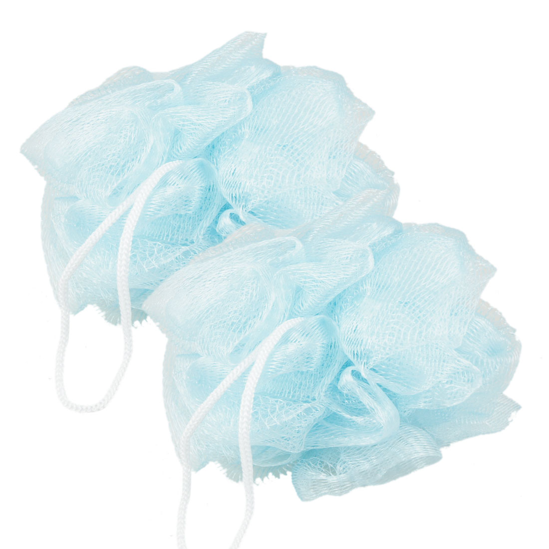 2 Pcs White Hoop Light Blue Soft Nylon Mesh Net Scrubber Pouf Bath Ball
