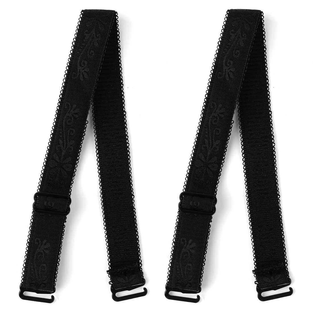 Woman Lady Black Adjustable Visible Elastic Shoulder Bra Straps 2 Pcs