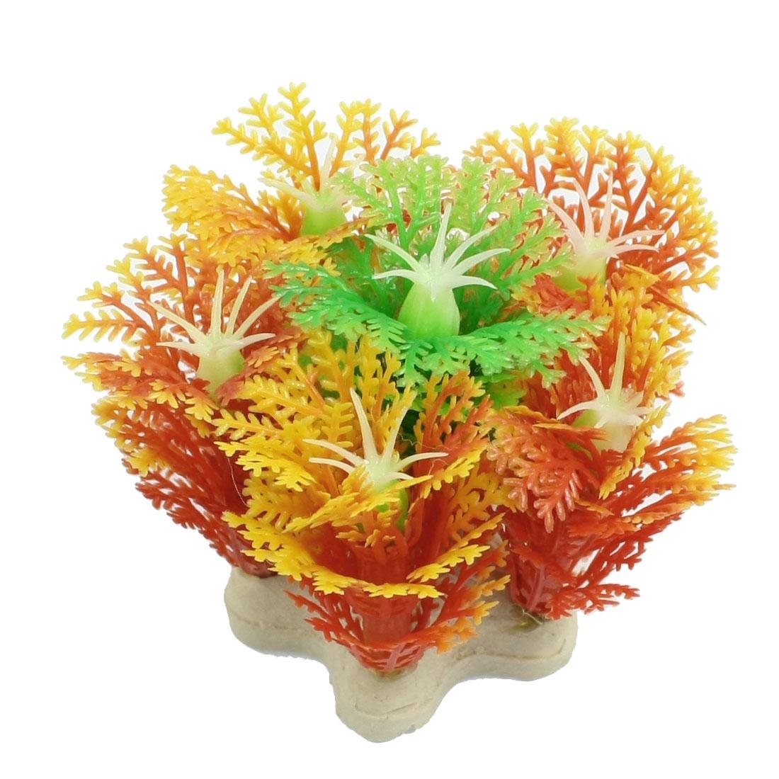 "Yellow Plastic Snowflake Design Green Stamen Fish Tank Landscaping 2.1"""