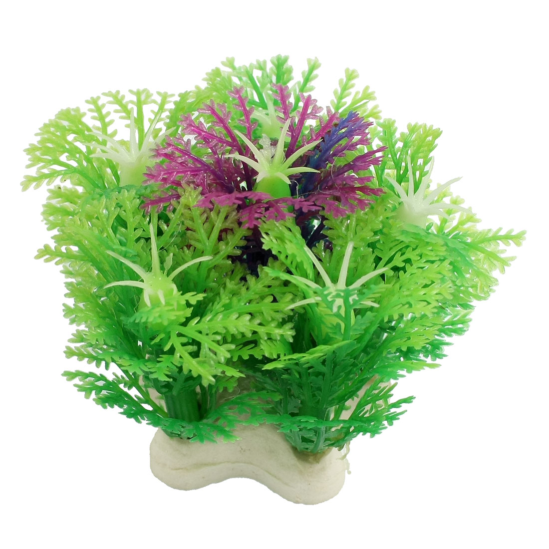 Green Plastic Snowflake Design Purple Stamen Fish Aquarium Landscaping 2.1""
