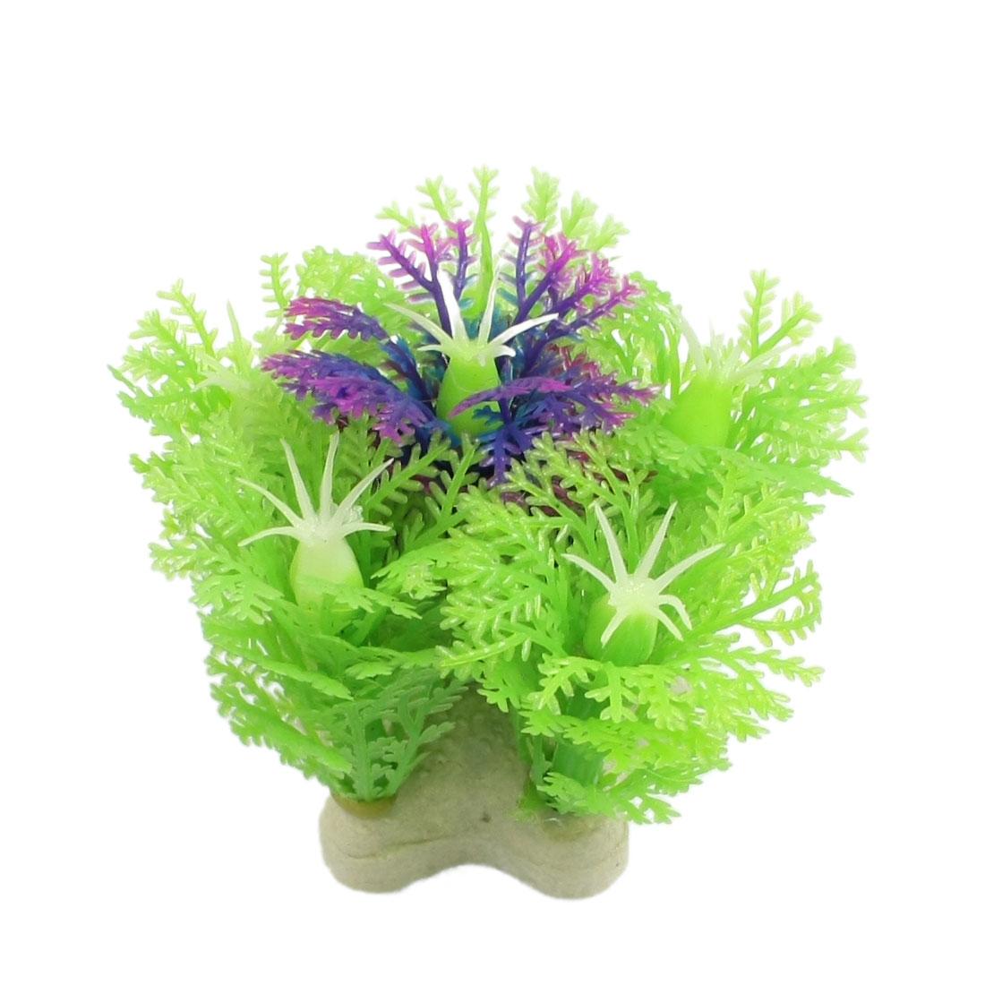 "Green Plastic Snowflake Shape Fish Tank Ornament Grass 2.1"""