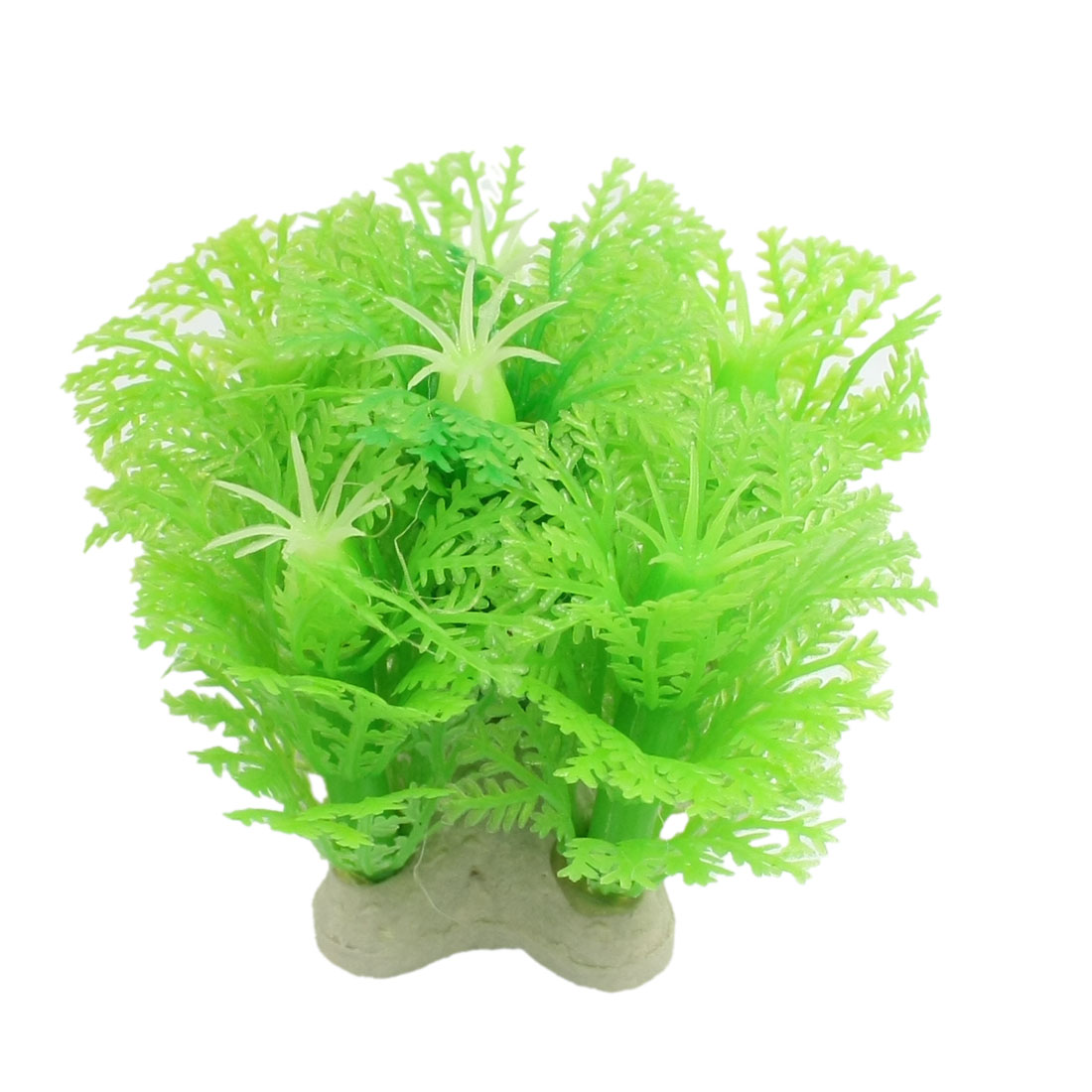 Green Plastic Snowflake Design Fish Tank Ornament Plant Landscaping 2.1""