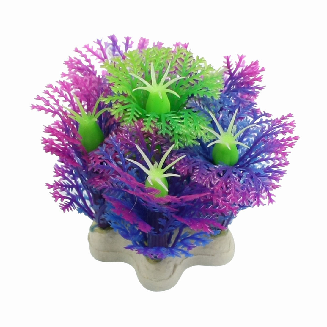 Green Purple Plastic Snowflake Design Fish Aquarium Landscaping 2.1""