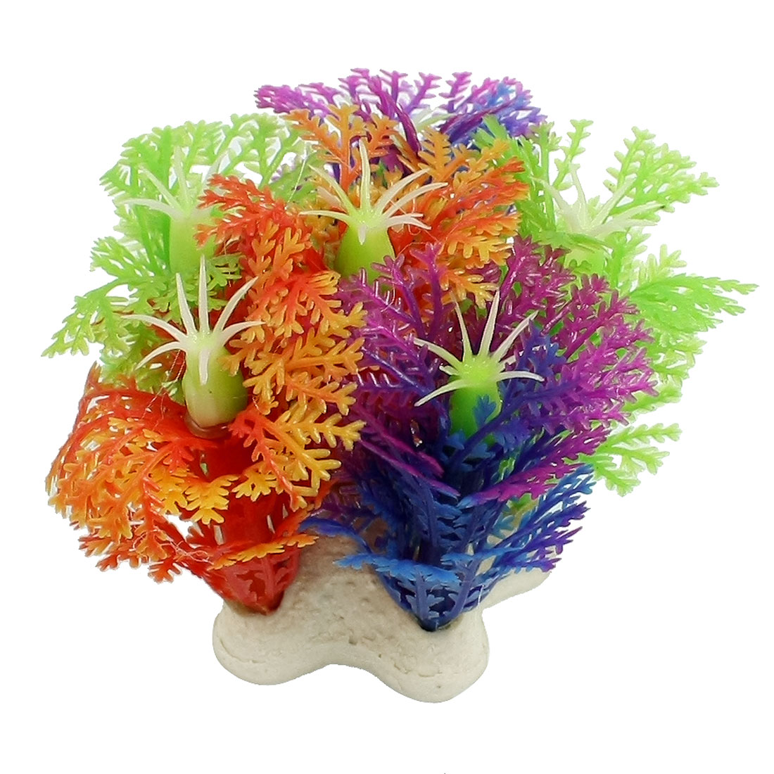 Fish Tank Plastic Snowflake Shaped Artificial Ornament Plant Yellow 2.1 Inch