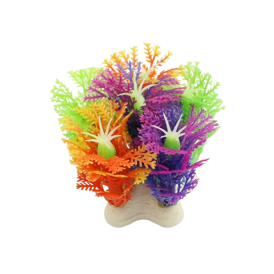Plastic Snowflake Shape Purple Stamen Fish Aquarium Landscaping 2.1""