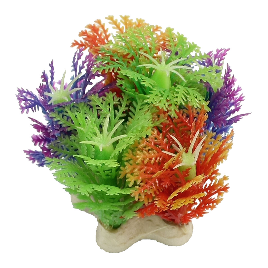 Green Yellow Purple Plastic Snowflake Shape Fish Tank Ornament Plant 2.1""