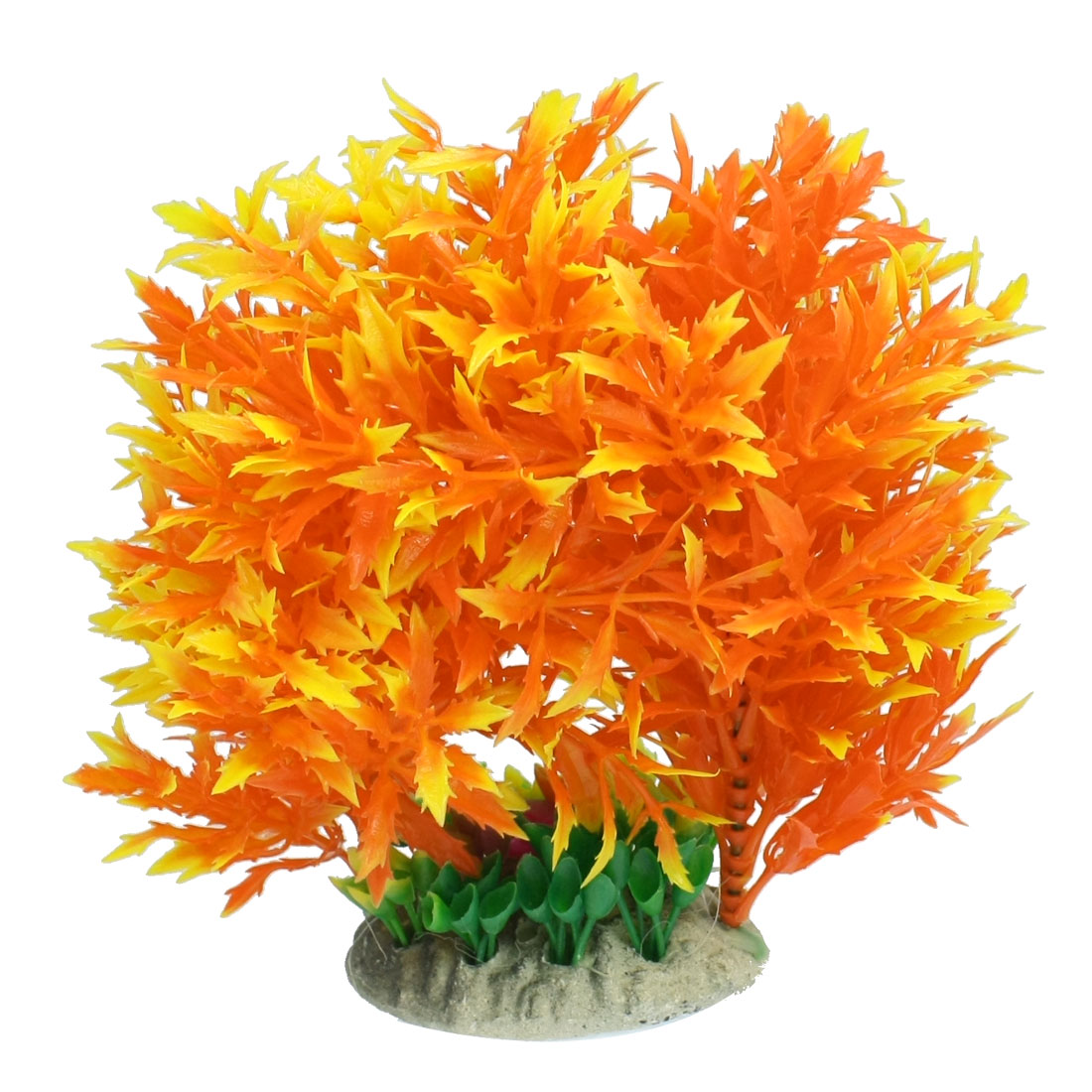 "Ceramic Base Orange Yellow Plastic Grass Decor 5.9"" for Fish Tank"
