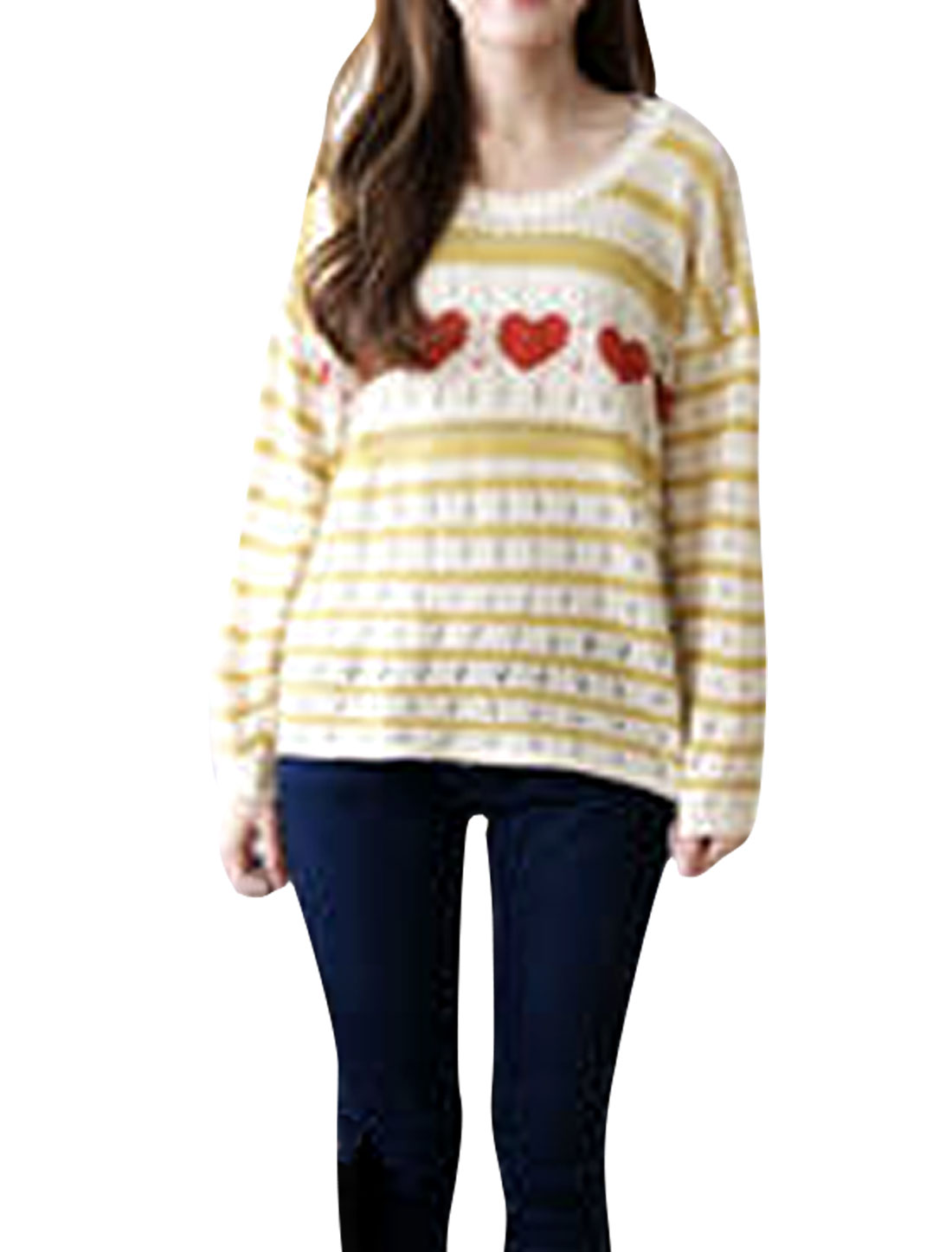 Ladies Yellow Beige Long Sleeves Autumn Hollow Out Sweater S