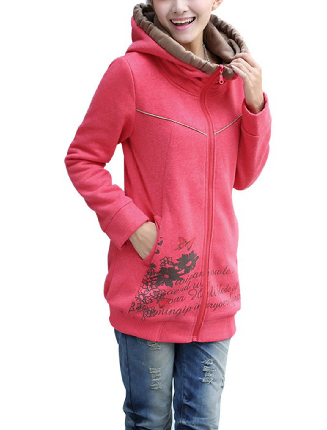 Ladies Long Sleeves Zip Up Letters Floral Prints Hoodie Pink S