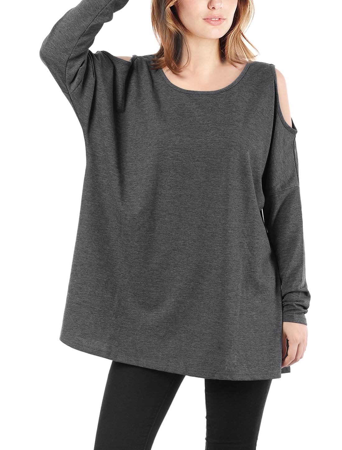 Ladies Scoop Neck Cut Out Shoulder Oversized Tunic Top Dark Gray S