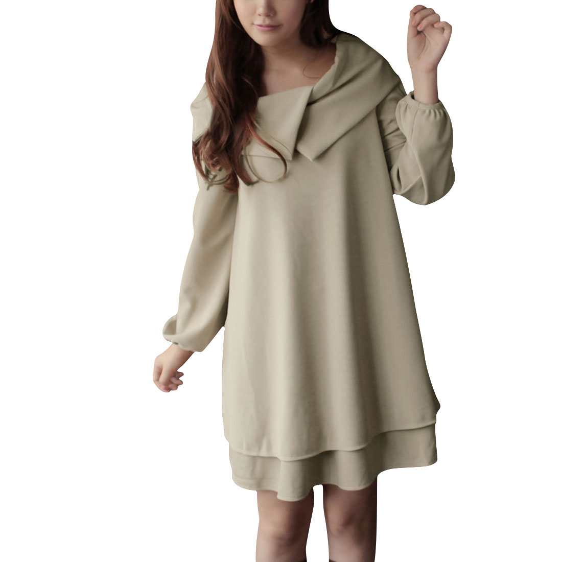 Ladies Beige Side Pockets Tiered Autumn Pullover Fashion Dress S