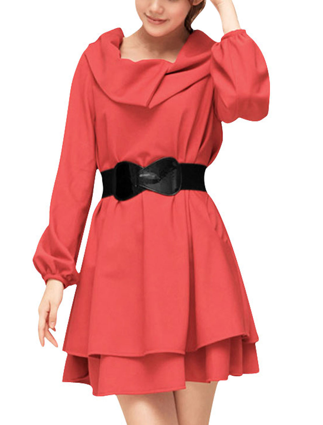 Ladies Watermelon Red Long Sleeves Lined Stylish Above Knee Dress S