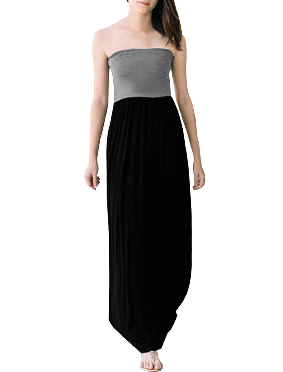 Ladies Black Gray Ruched Detail Casual Strapless Long Dress XS