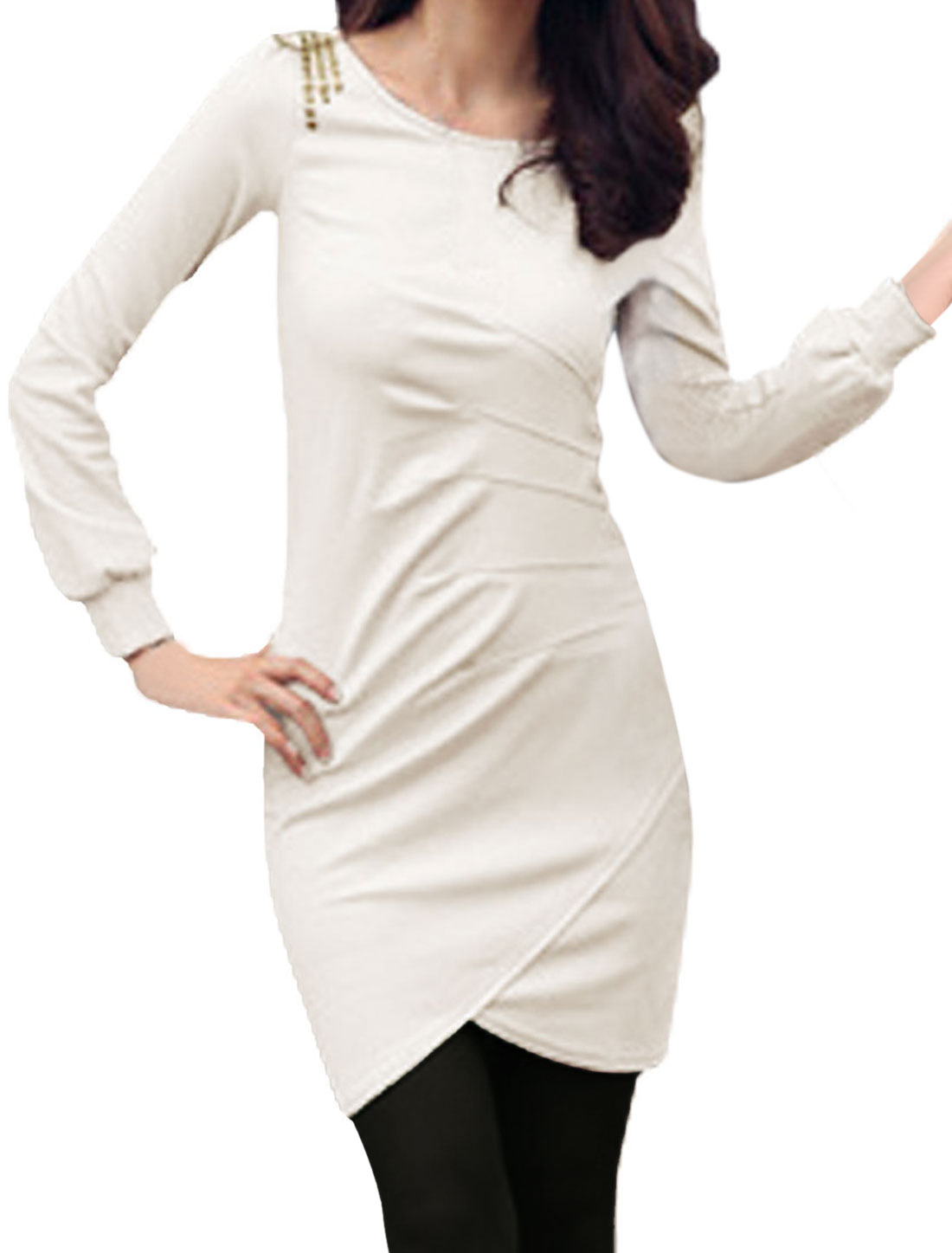 Ladies White Ruched Slim Fitting Tunic Pullover Tee Shirt XS