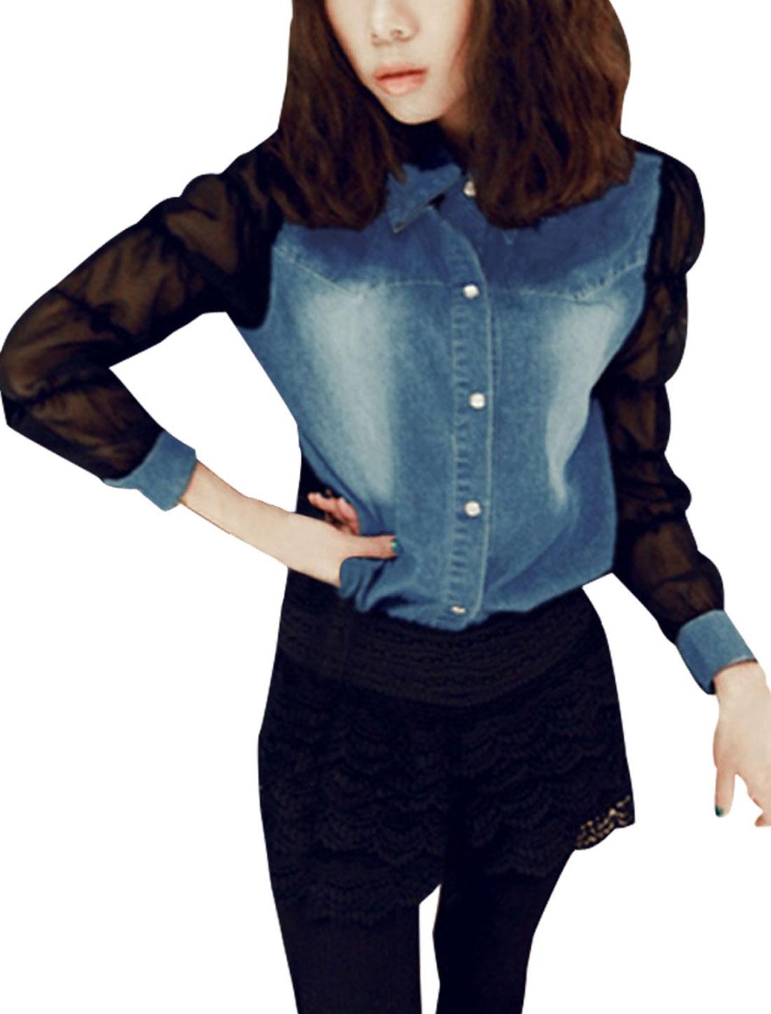 Women Light Blue High Low Hem Single Breasted Sheer Chiffon Patch Shirt S
