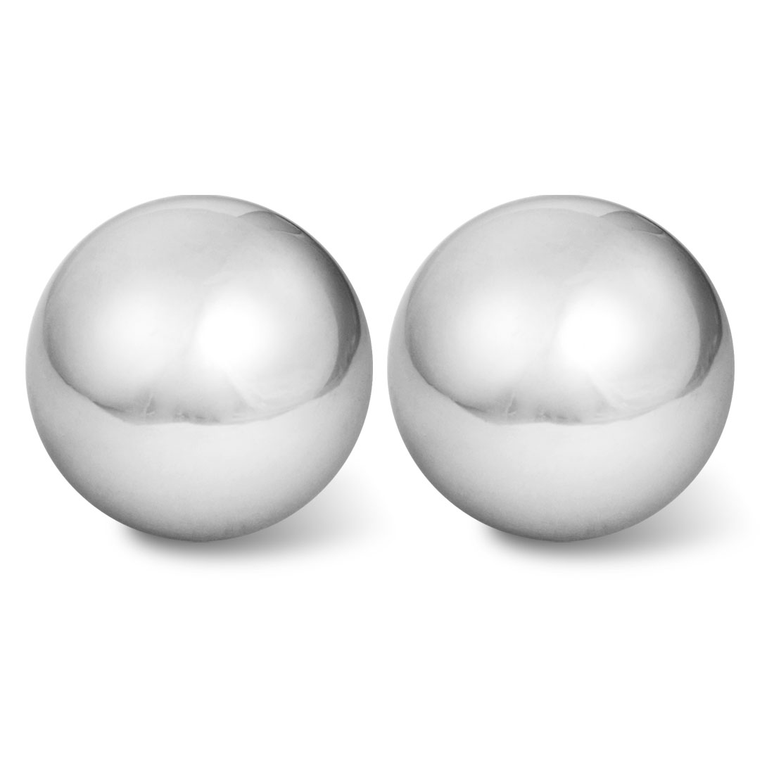 "2 Pcs Silver Tone Hand Palm Exercise 2"" Dia Chime Massage Ball"