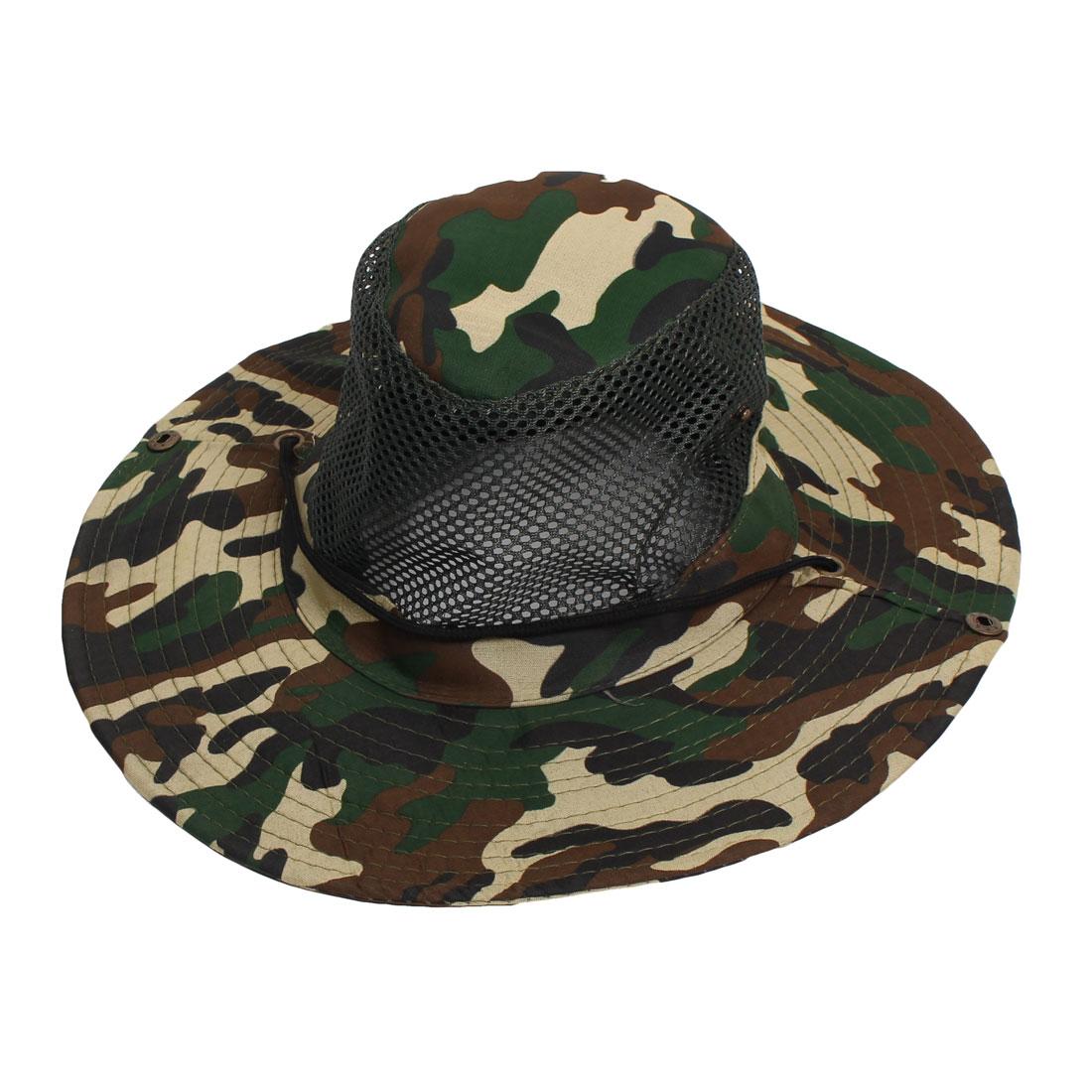 Unisex Green Mesh Design Sunbonnet Camouflage Fishing Hat Cap
