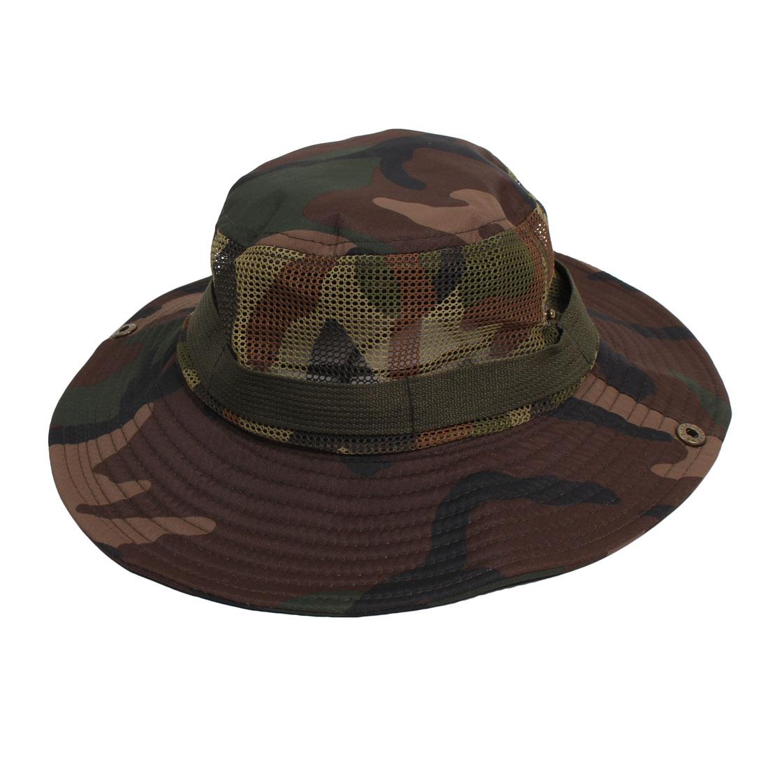 Unisex Camouflage Pattern Mesh Design Sunbonnet Fishing Hat Cap