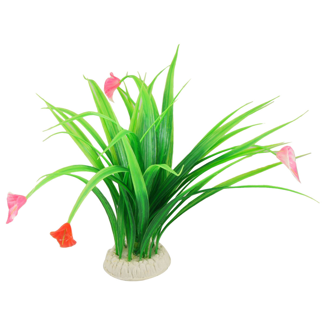 Fish Tank Plastic Green Leaves Red Flowers Grass Plants for Aquarium