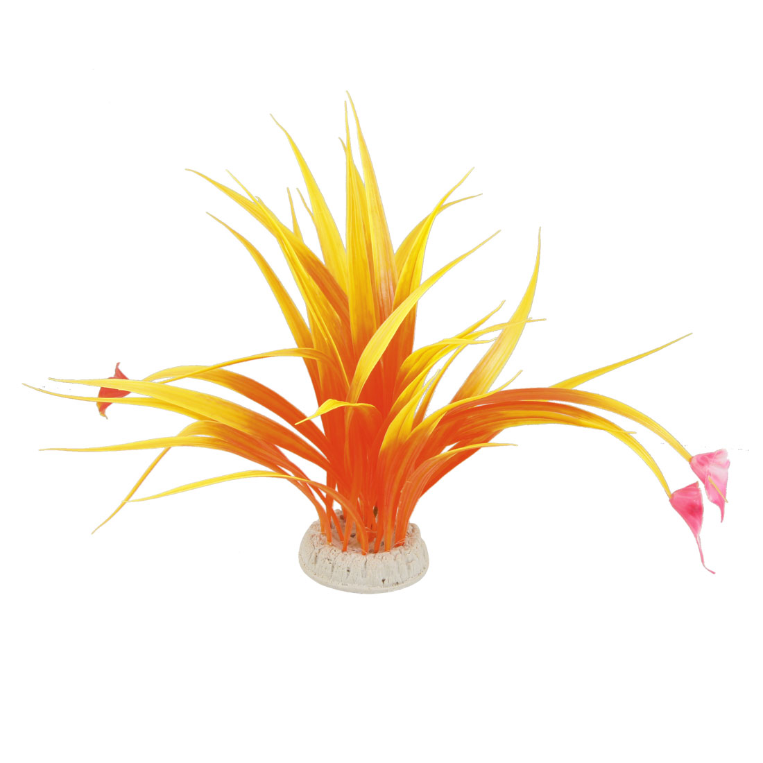 Aquarium Plastic Fuchsia Flowers Accent Orange Yellow Plants for Fish Tank