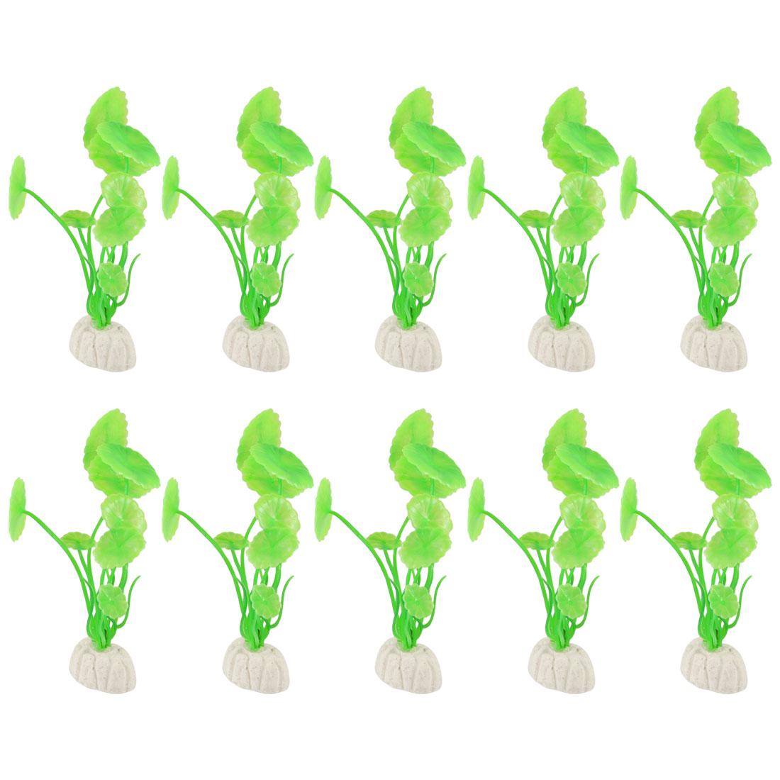 "10 Pcs 4.3"" Height Plastic Green Lotus Leaves Shaped Water Plants for Fish Tank Aquarium"