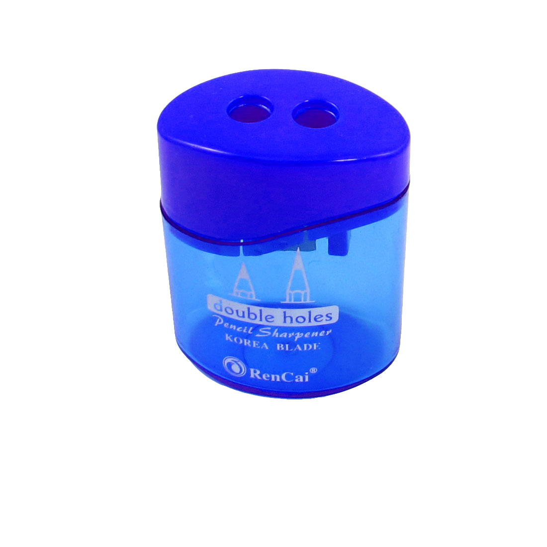 Blue Clear Plastic Shell Cylindrical Double Hole Pencil Sharpener for Student