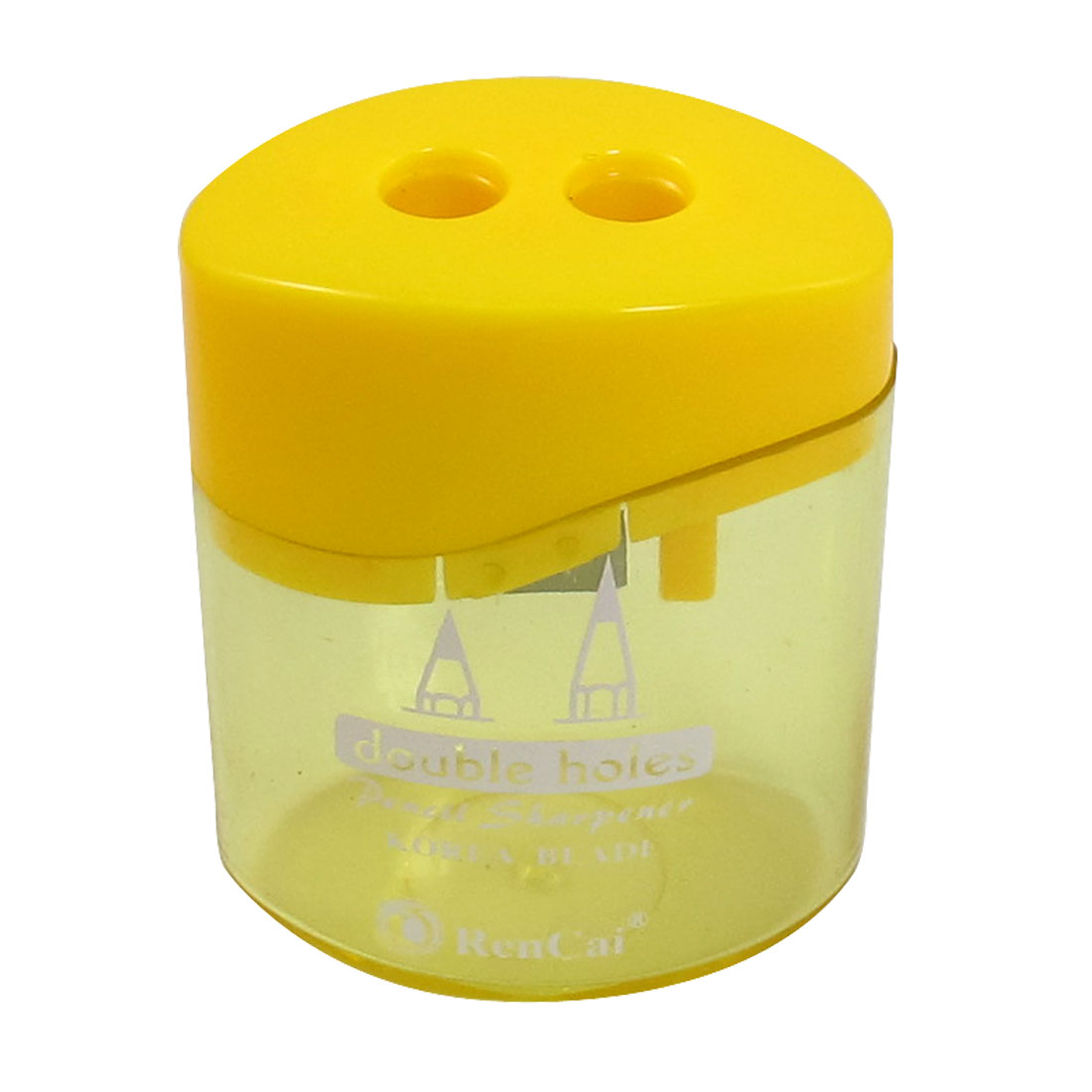 Yellow Clear Plastic Shell Cylindrical Double Hole Pencil Sharpener for Student
