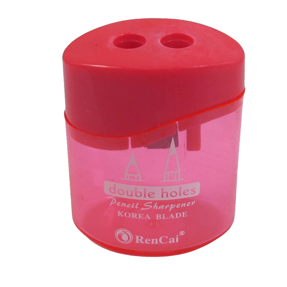 Red Clear Plastic Case Cylindrical Double Hole Pencil Sharpener for Student