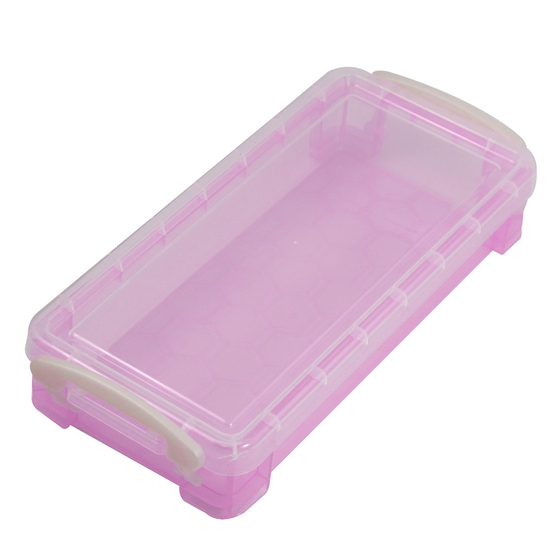Clear Cover Pink Hard Plastic Components Storage Enclosure Case Box