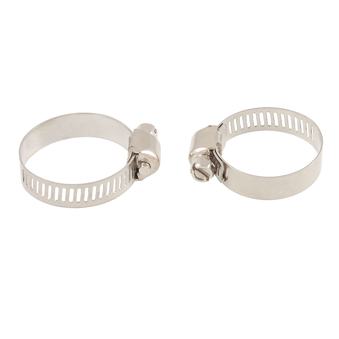 2 Pcs Stainless Steel Silver Tone 13-29mm Hose Clamps