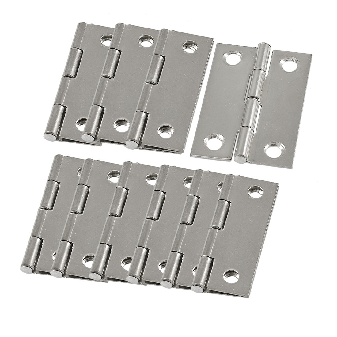 10 Pcs Silver Tone Metal Butt Hinge for Window Cupboard