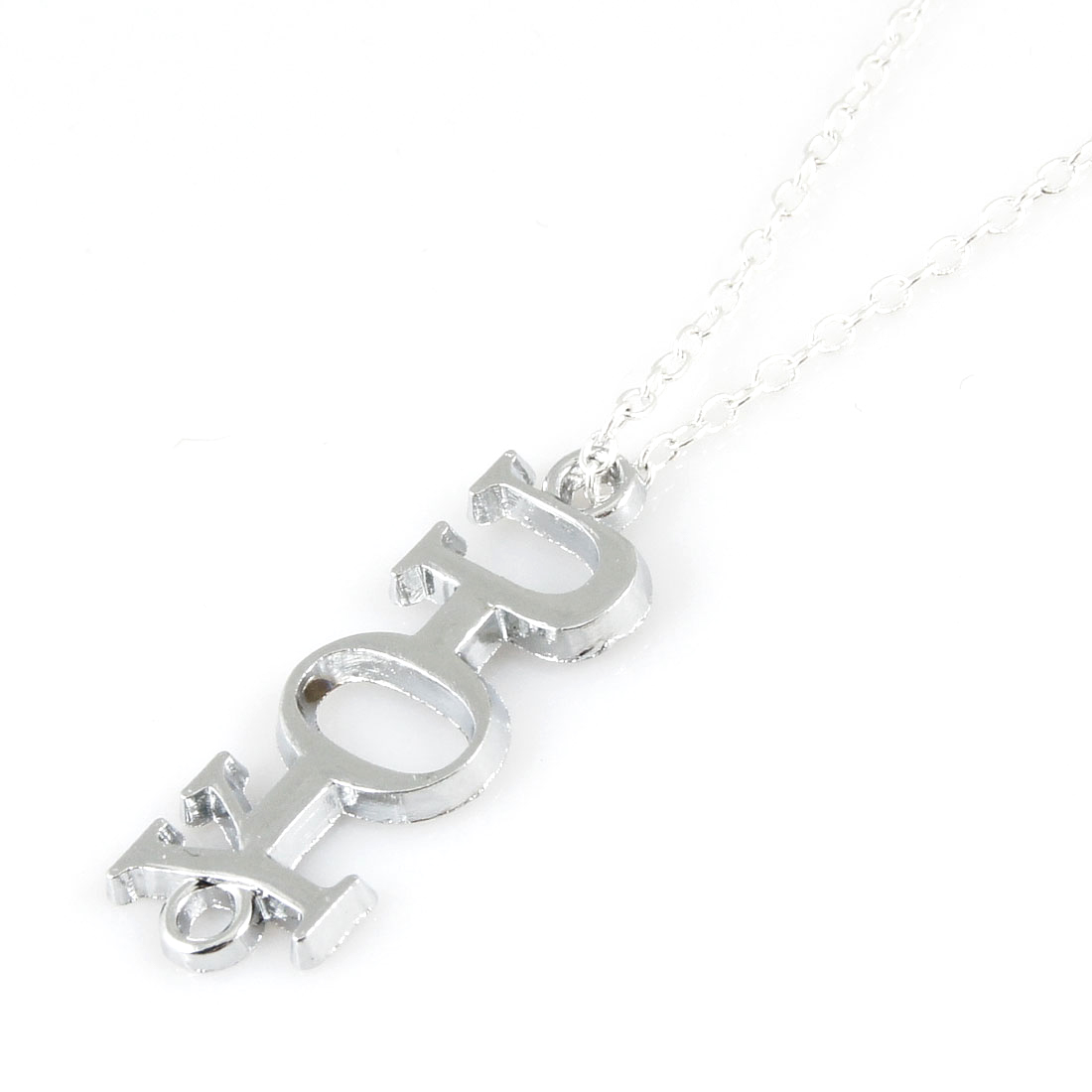 Women Lady Fashion Silver Tone YOU Pendant Link Chocker Necklace