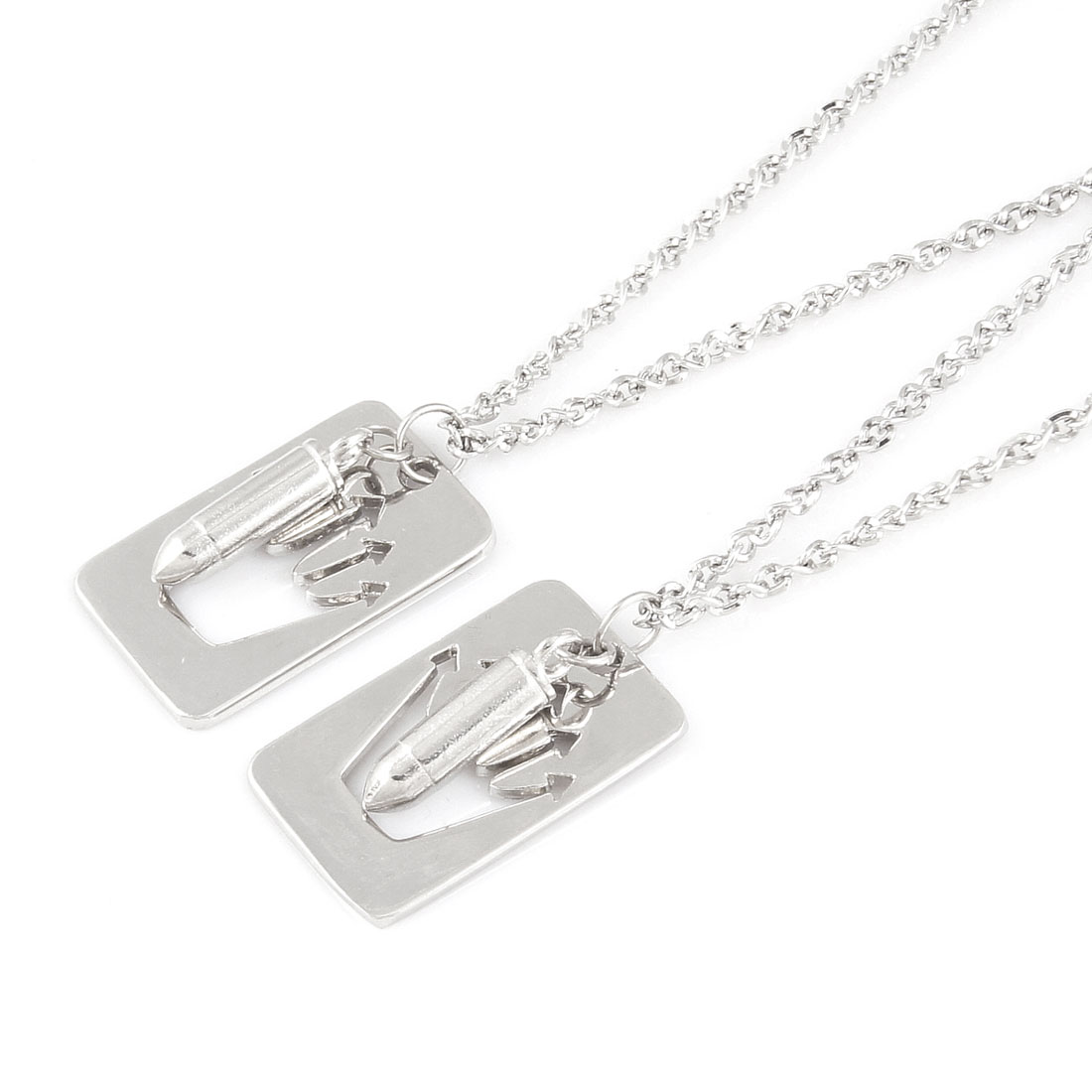 Lover Silver Tone Chain Dog Tag Pen Hollow Palm Pendant Chocker Necklace Pair