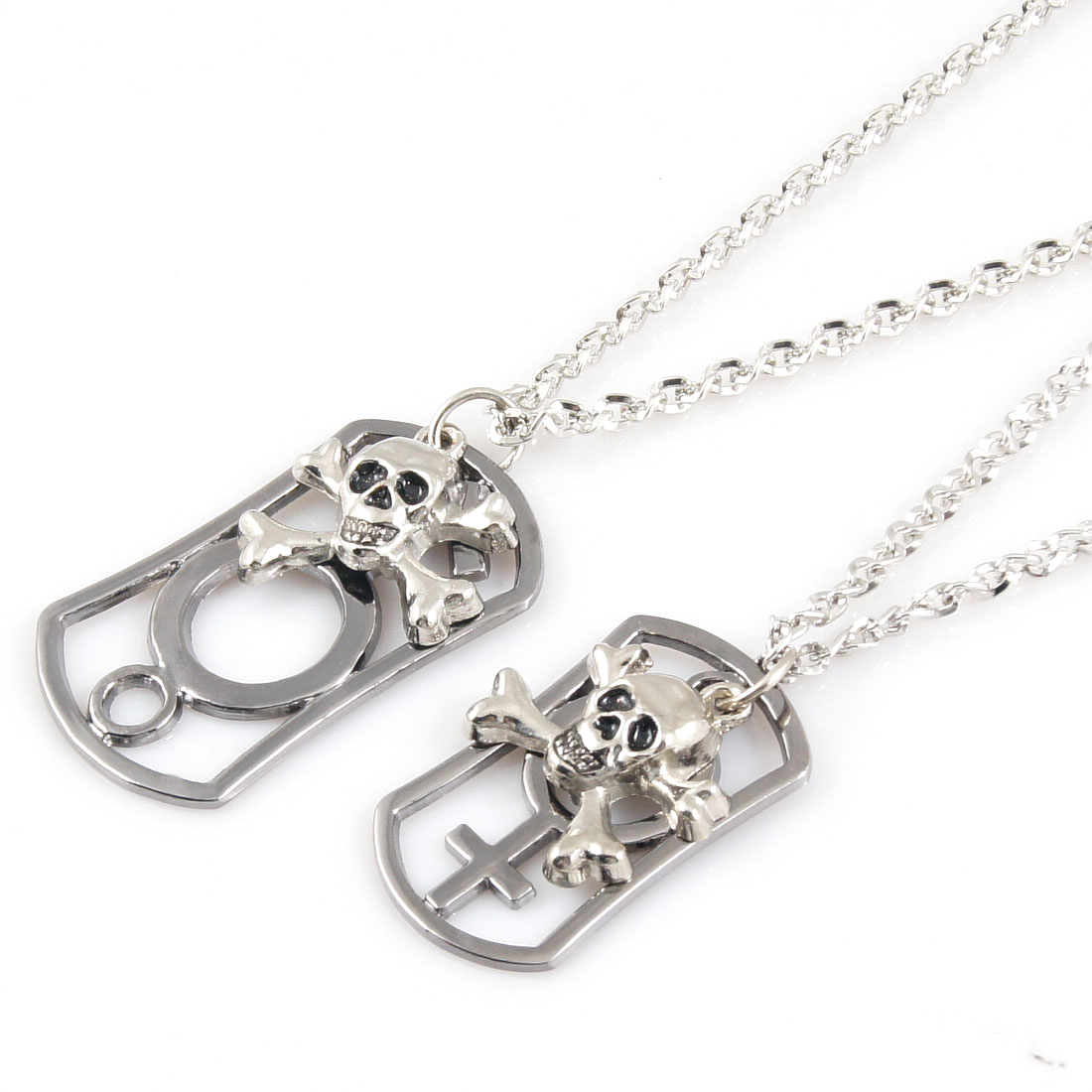 Pair Men Women Silver Tone Male Female Symbol Pendant Chain Chocker Necklace