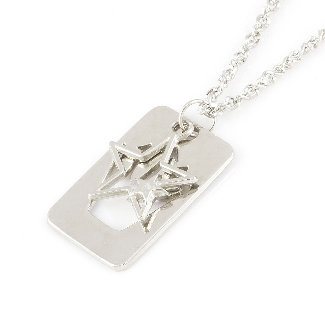 Silver Tone Dog Tag Star Hollow Palm Pendant Sweater Necklace Lover Gift