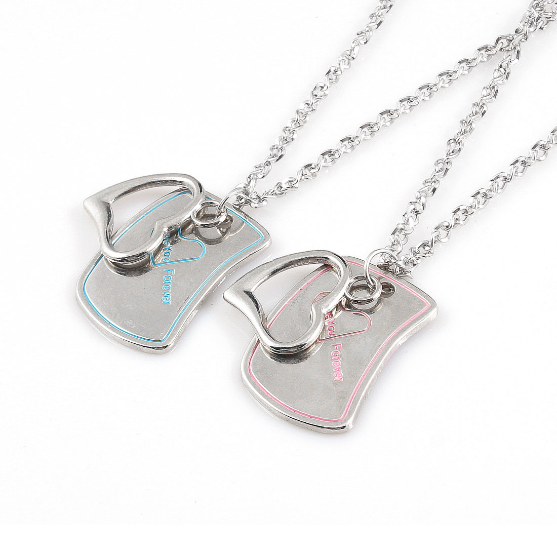 Lovers Silver Tone 50cm Girth Metal Heart Shape Pendant Necklace Pair