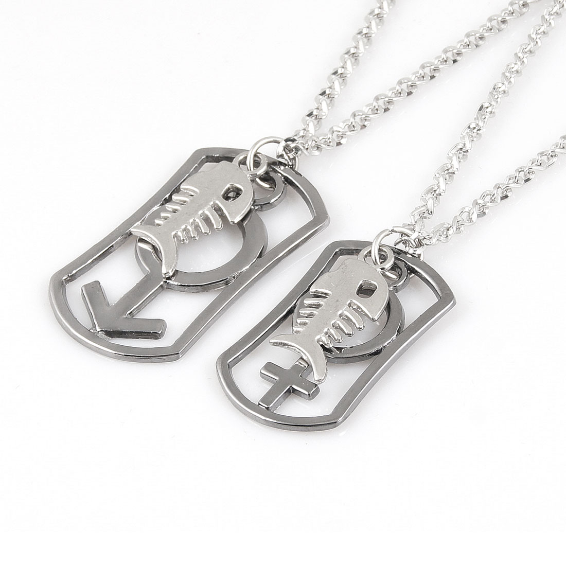 Lovers 2 Pcs Silver Tone Dog Tag Male Female Symbol Pendant Chocker Necklace