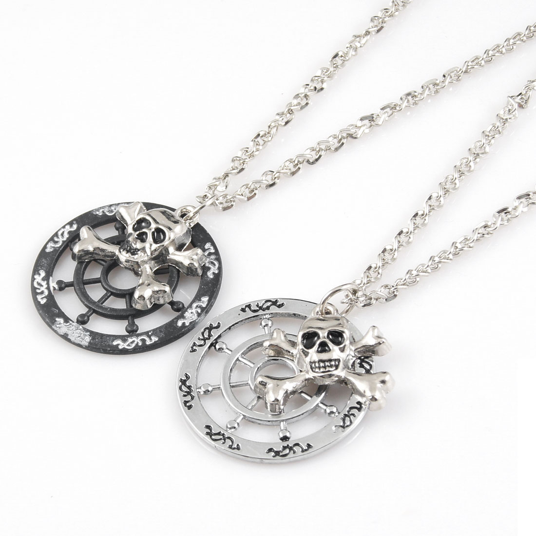 Silver Tone Lobster Clasp Skull Head Ship Wheel Pendant Necklace Pair for Lovers