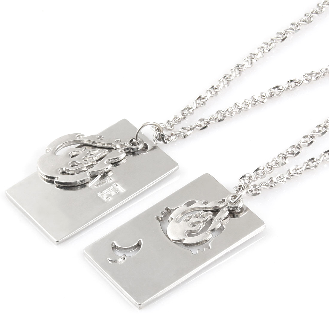 Lover Silver Tone Dog Tag Flame Hollow Cat Head Pendant Chocker Necklace Pair