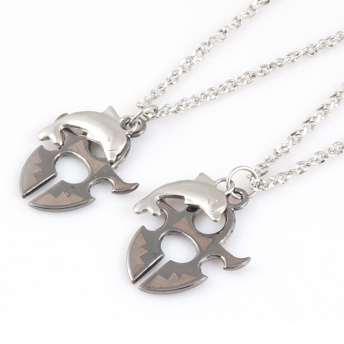 Lover Dolphin Pendant Siver Tone Gray Metal Lobster Clasp Necklaces 2 Pcs