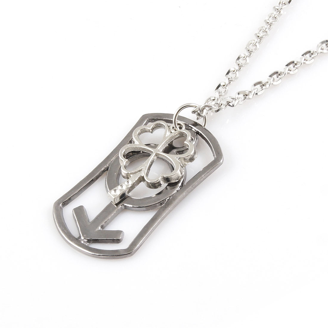 Silver Tone Alloy Male Symbol Flower Pendant Chocker Necklace Lover Gift