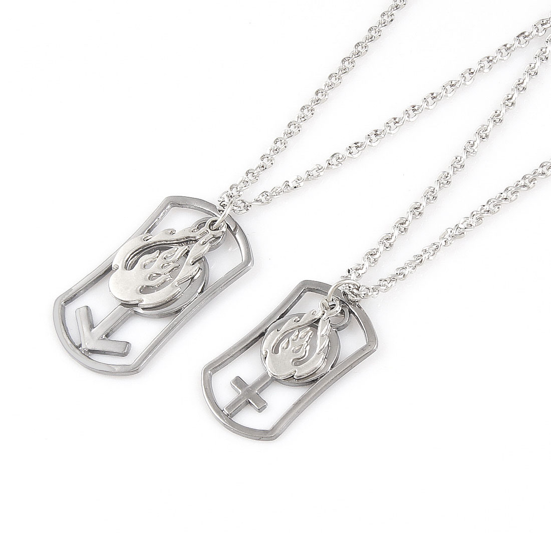 2 Pcs Silver Tone Alloy Flame Symbol Pendant Chain Chocker Necklace Lover Gift