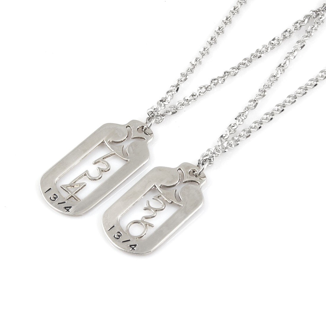 Pair Men Women Silver Tone Hollow Arabic Numbers Pendant Chain Chocker Necklace